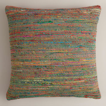 Blue Surf Recycled Sari Throw Pillow - World Market