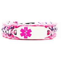 Medical ID / Alert Thin Paracord Bracelets with Custom Engraved Pink Stainless Steel ID Tag for Kids or Adults - Adjustable Velcro or Buckle