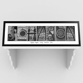 Architectural Elements III Black and White Family Name Prints