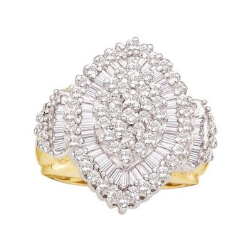 10kt Yellow Gold Womens Round Baguette Diamond Concentric Oval Cluster Ring 1.00 Cttw
