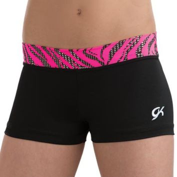 Black Nylon/Spandex Workout Shorts with Glow Zebra Waistband from GK Elite