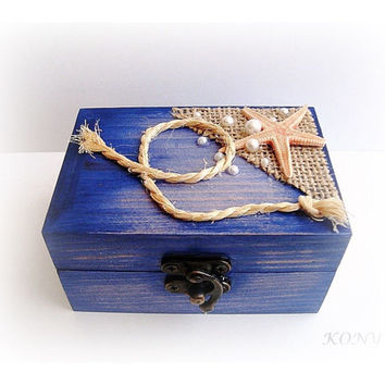 Starfish Wedding Box Rings, Marine wedding, Blue box, Wooden box Sea, Marriage proposal, Box newlyweds, Wooden jewelry box, Burlap