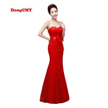 DongCMY Zipper style long New Evening dress 2018 Red color Plus size Robe de soiree Lace Women's Mermaid