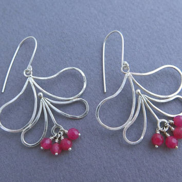 Dangle Flower Earrings - Sterling Silver and Pink Agate - Leaf Earrings