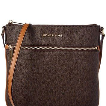 DCCKHI2 MICHAEL Michael Kors Bedford Signature Flat Cross-Body Bag