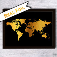 World map art poster World map print World map real foil poster World map gold foil print Home decoration Office wall decor Gift art G35