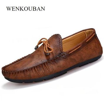 Mens Flats Leather Loafers Driving Slip On Flat Casual Shoes