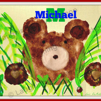 Bear nursery animal nursery Baby kids name art ladybug Playroom poster Forest Woodland nursery girls room boys room wall art Bear folk art