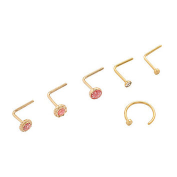 Steel Gold & Pink Gem Nose Stud & Hoop 6 Pack