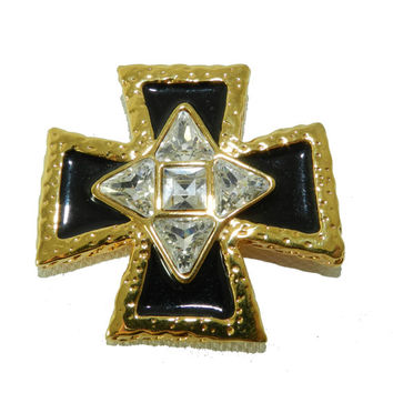 St John Maltese Cross Brooch, St John Signed Brooch, High End Jewelry, Vintage Fashion Jewelry Jewellery, Fashion Brooch