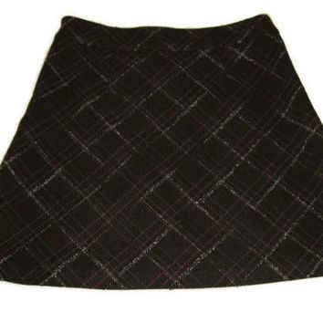 new womens OLD NAVY Brown / Fuchsia Plaid Career Skirt Size 10