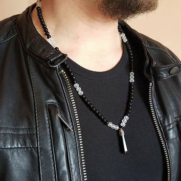 MENS NECKLACE Black Onyx- Rock Crystal Necklace Onyx Pendant Long Necklace,Mens Jewelry Men Necklaces Rock Crystal Necklace 6mm beaded