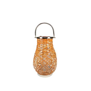 "13.5"" Modern Orange Decorative Woven Iron Pillar Candle Lantern with Glass Hurricane"