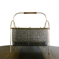 Vintage Magazine Rack Mid Century Home Decor Brass - Atomic Design, Square Pattern, and Wooden Handle