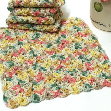 Crochet Cotton Dishcloth Washcloth Multicolor set of 3
