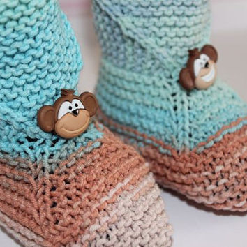 Baby Booties , 0-6 Months  Knitted Baby Booties, Baby Slippers