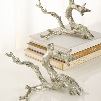 Antiqued-Silver Just Twigs Sculpture, Set of 2 - John-Richard Collection
