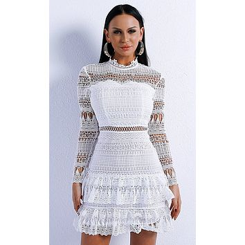 Memorable Kisses White Sheer Lace Cut Out Long Sleeve Mock Neck Ruffle Mini Dress