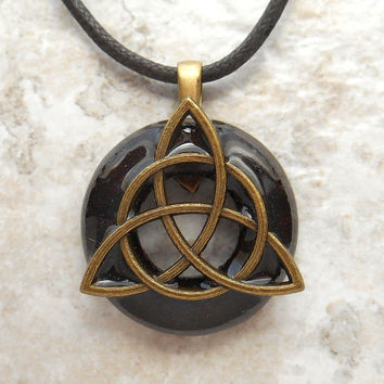 triquetra necklace: rusty - mens jewelry - celtic jewelry - mens necklace - boyfriend gift - irish jewelry - fathers day - unique gift