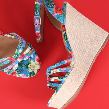 Qupid Floral Ankle Strap Straw Weave Wedge