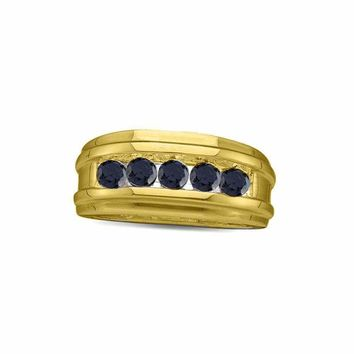 10kt Yellow Gold Men's Round Black Color Enhanced Diamond Band Ring 1/4 Cttw - FREE Shipping (US/CAN)