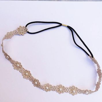Metting Joura Vintage Bohemian Ethnic Vintage Filigree Lace Flower With Pearl Elastic Headband Hair Band Hair Accessories