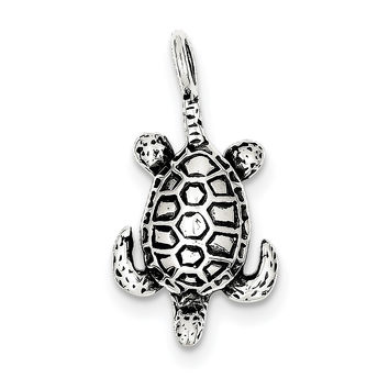 Sterling Silver Antiqued Sea Turtle Pendant QC4903