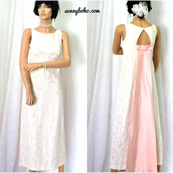 Vintage 60s formal dress / size XS 3 / 5 / Audrey Hepburn 1960s pink lace maxi prom evening gown / SunnyBohoVintage