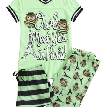 OWL PARIS PAJAMA SET | GIRLS PAJAMAS SLEEP & UNDIES | SHOP JUSTICE