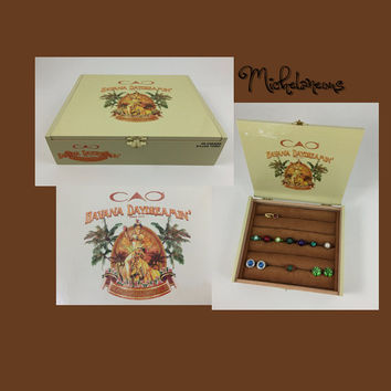 CAO Havana Daydreamin' Cigar Box Jewelry Box, Ring, Stud Earring & Cuff Link Holder, Ring, Cufflink and Jewelry Display by Michelaneous