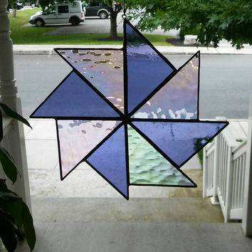 RESERVED Stained Glass pinwheel suncatcher in purple & iridescent clear, suncatcher, stained glass window, quilt square, hip chick glass