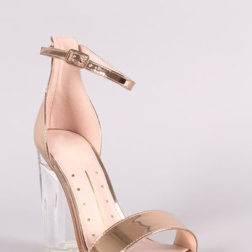 Metallic Patent Open Toe Ankle Strap Chunky Clear Heel