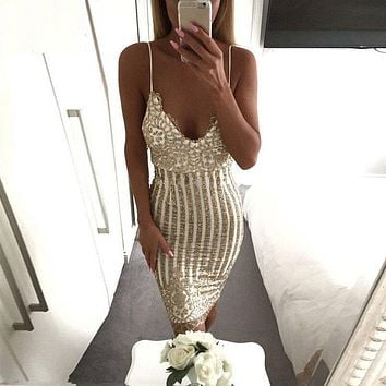 Sexy Party Night sequin summer dress Women V-neck elegant vintage dresses Shinning Gold sequined Flower Lace Dress