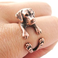 Realistic Labrador Retriever Shaped Animal Wrap Ring in Copper | Sizes 4 to 8.5