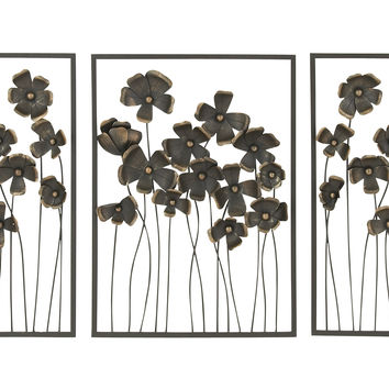 Chic Set Of Three Metal Outdoor Wall Decor