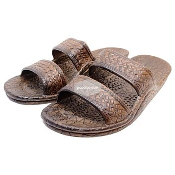 "Classic Dark Brown ""Hawaiian Jandals"" Pali Hawaii Jesus Sandals"