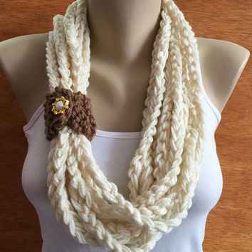 crochet chain Infinity scarf cream color - necklace scarf gift or for you