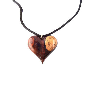 Wooden Heart Necklace, Wood Jewelry, Wooden Pendant, Wood Heart Pendant, Wood Heart Carved Pendant, Hand Carved Wooden Heart, Wood Necklace