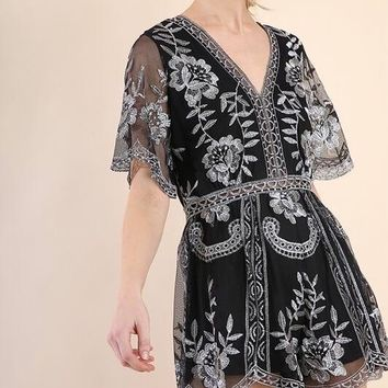 in the open air - romper with contrasting embroidery detailing - black