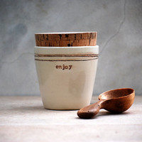 stoneware sugar Jar with Cork Lid, Rustic Canister Pottery ENJOY