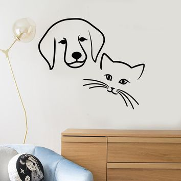 Vinyl Decal Dog Cat Pets Animal Baby Room Kids Veterinary Wall Stickers Unique Gift (ig024)