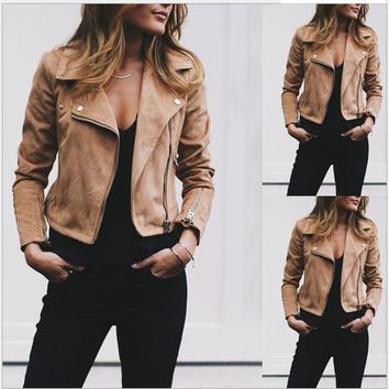 Autumn Women Lapel Neck Jackets Fashion Zipper Fly Coats Casual Solid Color women Outerwear With Button