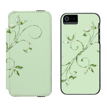 Green Leaves Wallet Case For iPhone SE/5/5s