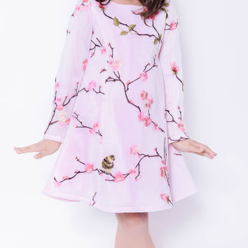 Koma-Va Girl's Pink Cherry Blossom L/S Shift Dress