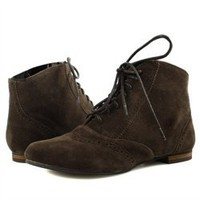 Miss Me Rae8a Brown Spectator Flat Ankle Boots and Womens Fashion Clothing & Shoes - Make Me Chic