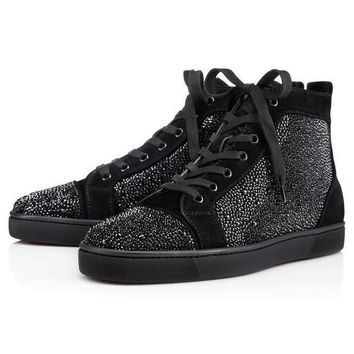 Christian Louboutin Louis Strass Men's Women's Flat Black Suede 3100592bk01 - Beauty Ticks