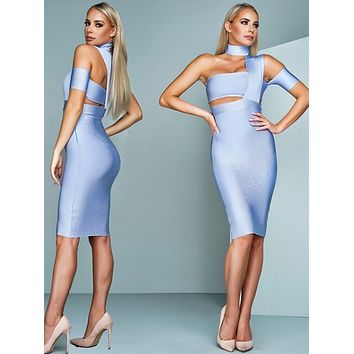 Ruby ice blue dress with choker
