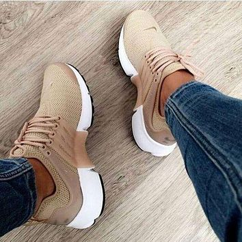 NIKE Air Presto Trending Women Men Leisure Running Sport Cushion Shoes Sneakers Khaki I