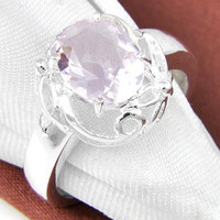 6 PCS/LOT Valentine Oval Sweet Pink Topaz Gemstone 925 Sterling Silver Plated Weddiing Ring