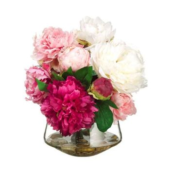 Peony in Glass Vase ~ Pink & Cream